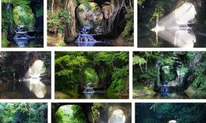 ネットで話題の陽の光でハート形に見える「亀岩の洞窟(濃溝の滝)」